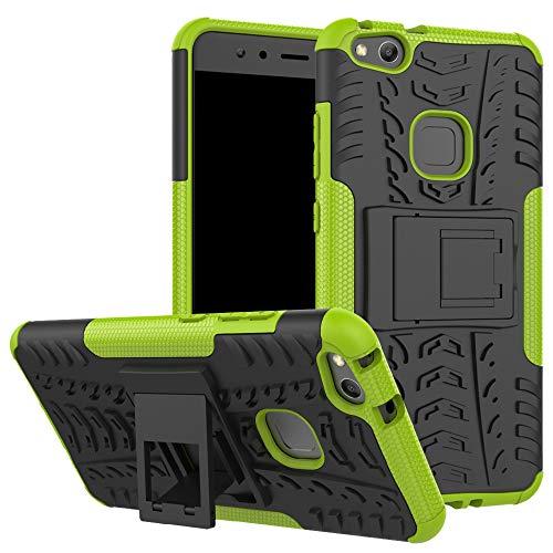 LiuShan Huawei P10 Lite Funda, Heavy Duty Silicona Híbrida Rugged Armor Soporte Cáscara de Cubierta Protectora de Doble Capa Caso para Huawei P10 Lite Smartphone(con 4 en 1 Regalo empaquetado),Verde