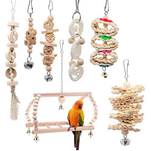 XIAQIU 7 Piezas Juguete para Loros, Juguetes para Pájaros Juguetes de Jaula de Pájaros de Campana Colgante de Madera Natural Adecuados para Periquitos, Cacatúas, Pinzones, Guacamayos