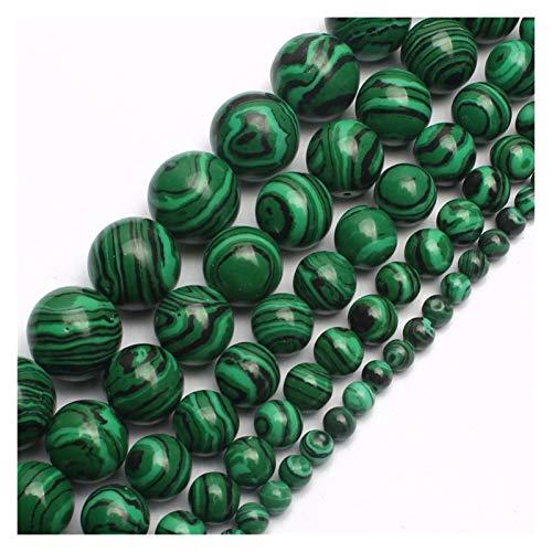 HETHYAN Cuentas de malaquita verde de 4/6/8/10/12/14 mm redondas sueltas para hacer joyas, ajuste a la pulsera y collar de 15 pulgadas (tamaño : 8 mm, 46 unidades)