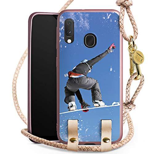 DeinDesign Carry Case kompatibel mit Samsung Galaxy A20e Handykette rosé Gold Handyhülle zum Umhängen Snowboard Winter