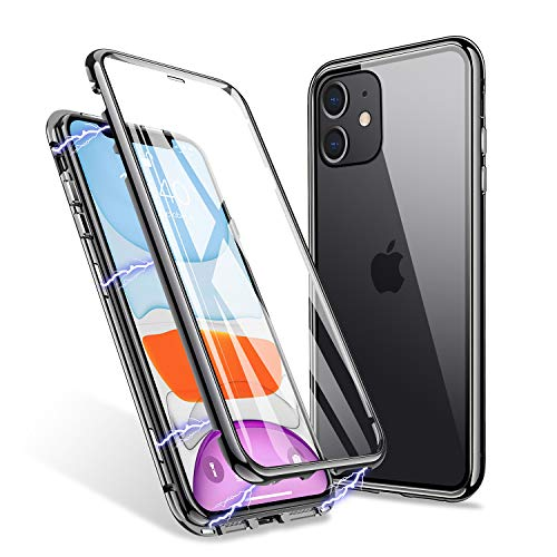 iPhone 11 Pro Max Case, ZHIKE Magnetic Adsorption Case Front and Back Tempered Glass Full Screen Coverage One-Piece Design Flip Cover [Support Wireless Charging] (Clear Black)