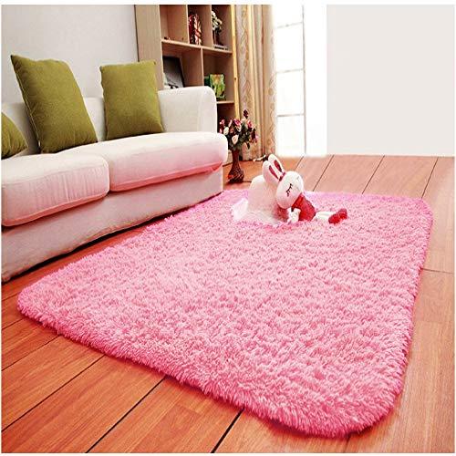 XIEPEI 2019 Gewaschene Seide Haar rutschfeste Teppich Wohnzimmer Couchtisch Schlafzimmer Nacht Yoga-Matte dicken Teppich rosa 80 * 120CM