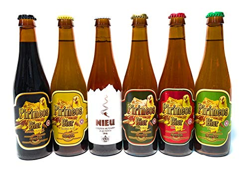 Pirineo, Cerveza Artesana, Pack Degustación Artesanal, Kit Regalo, Vermouth, Producto Gourmet, 6 Botellas de 0.33 Cl, Nieu IPA, Blond Ale, Pale Ale, Cerveza Trigo, Cerveza Negra, Cerveza Red Ale