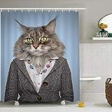 Xlabor - Cortina de ducha vintage de animales, resistente al agua y antimoho, incluye 12 anillas para cortina de ducha para cuarto de baño, gato, 180 x 200 cm