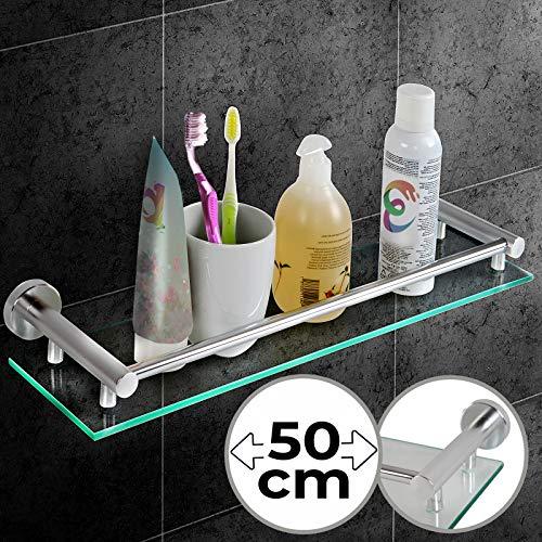 Glazen plank voor badkamer, in 1 of 2 stuks, wandmontage, aluminium, gehard glas, breedte: 50 cm, incl. montagemateriaal - badkamerplank, glazen plank, wandplank, badkamerrek, badkameraccessoires 1 exemplaar