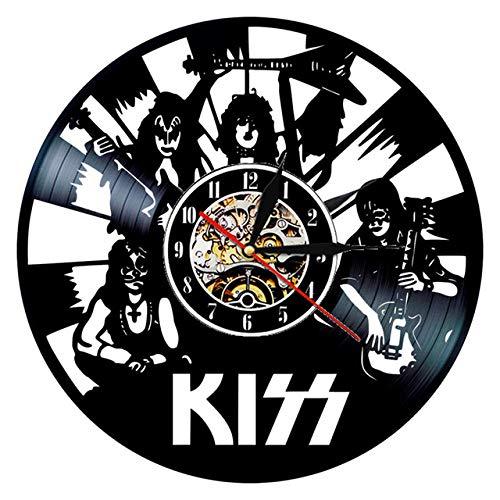 SKYTY Reloj de pared de vinilo con banda de rock, retro de vinilo, 3D, banda de reloj de pared, regalo para decoración del hogar, 4 con luz LED de 30,5 cm