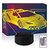 HIPIYA Racing Car Remote Control LED 3D Illusion Night Light USB Truck Driver Lamp Toys Present Birthday Gift for Little Kid Boy Toddle Teen Player Fan Bedroom Decoration Room Nursery Decor (Car2 RC)