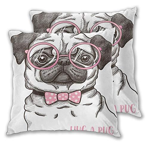 NUXIANY Funda de Cojín,Pug Perro Mascota Pajarita Rosa Gafas extragrandes Dibujado a Mano Domesticado Decorativo Marrón Rosa pálido Blanco Funda de Almohada para Cojín Cuadrado,Juego de 2 55x55cm