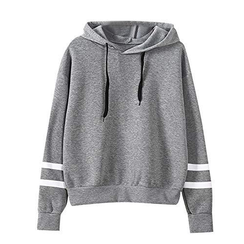 YANFANG Camisetas Primavera Mujer,Blusa con Capucha de Color sólido de Manga Larga Suelta Casual de Moda para Mujer, XL,Gray