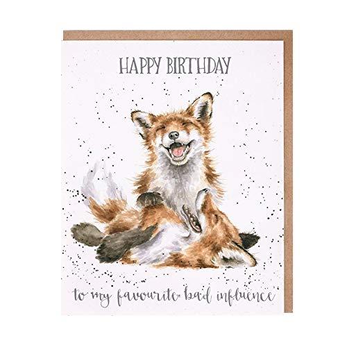 Wrendale - OC103 - Doppelkarte mit Umschlag, Geburtstag, Fuchs, Happy Birthday To my favourite bad influence, 14cm x 17cm