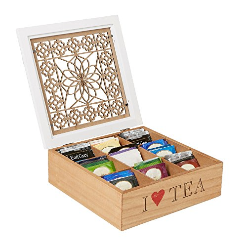 MIND READER Tea Bag Sorter and Organizer [Wooden Floral Pattern   9 Compartments] Teabag or Coffee Caddy, Sugar Packets and Other Condiments Holder, and Storage Chest Box (BROWN/WHITE)