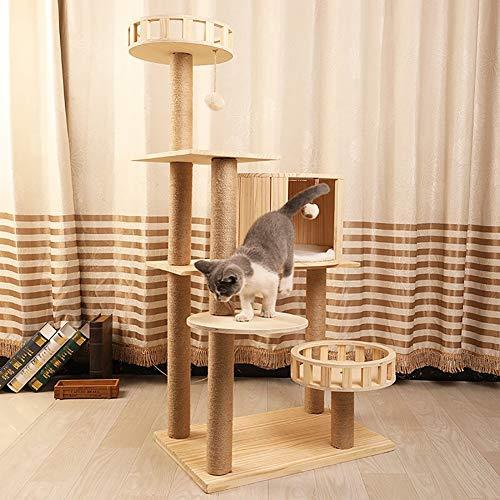 YUMO Hochwertiger Kratzbaum - mit Massivholzboden und geräumigen Schlafplätzen - geeignet für große Katzenrassen