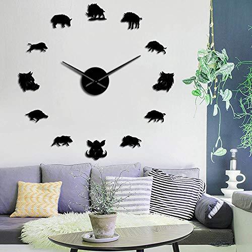 RRBOI Sus Scrofa Jabalí Figuras Arte de la Pared Espejo Pegatinas DIY Reloj de Pared Cerdo Reloj Colgante Reloj de Pared Hunter Regalos 27 Pulgadas (Negro)