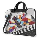 Mariposa Playing Piano Laptop Bag Messenger Bag Maletín Satchel Shoulder Crossbody Sling Bolsa de Tr...