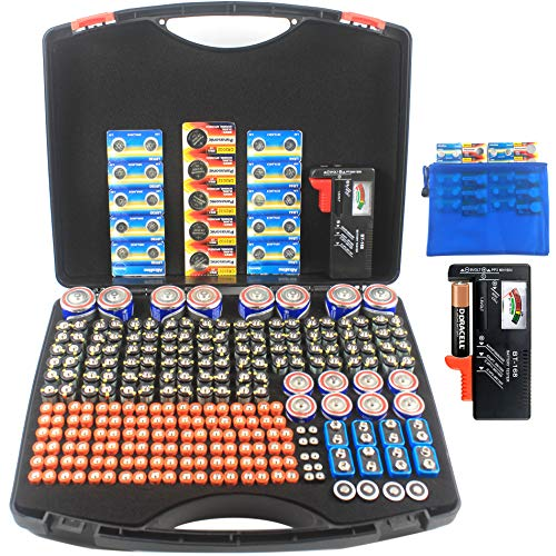 Hard Plastic 300 Battery Storage Organizer Case Holder with BT-168 Tester, Hold 108 AA, 104 AAA, 8 C, 8 D, 8 9V, 10 AAAA, and Button Cell, 3V SF/CR123A Batteries.(no Batteries)