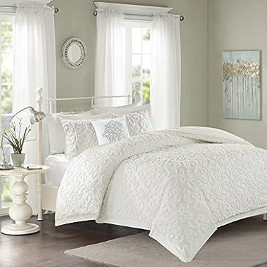 Madison Park Sabrina Comforter Set King/Cal King Size - White, Medallion – 4 Piece Bed Sets – 100% Cotton Teen Bedding For Girls Bedroom