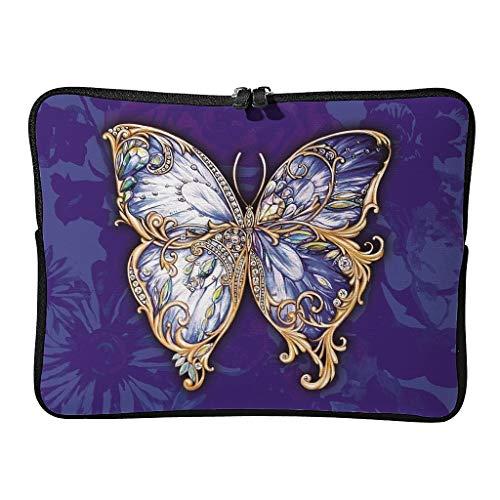 Butterfly - Funda multifuncional para portátil Toshiba 17 zoll (con asa), diseño de mariposas, color blanco