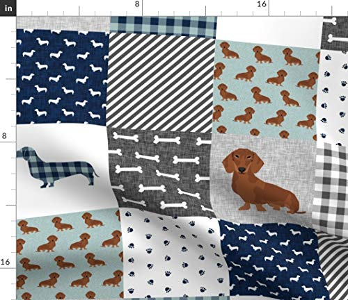 Spoonflower Fabric - Dachshund Pet Quilt Dog Breed Silhouette Cheater Wholecloth Weener Printed on Petal Signature Cotton Fabric by The Yard - Sewing Quilting Apparel Crafts Decor