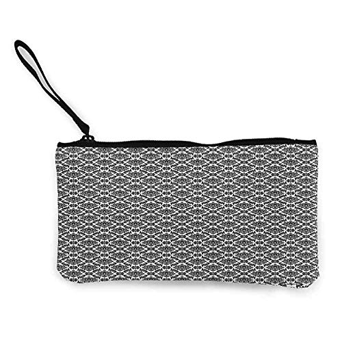 TTmom Carteras de Mujer,Monedero,Black and White Monochrome Flourishes with Venetian Design Details Repeating Scroll Wallet Coin Purses Clutch W 8.5' x L 4.5' Black and White