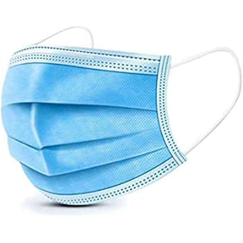 U-Kiss 50 pezzi Mascherine monouso, 3 strati di protezione, Con ganci auricolari elastici blu, Usati per proteggere da polvere/batteri/fumo/inquinamento/cenere/polline