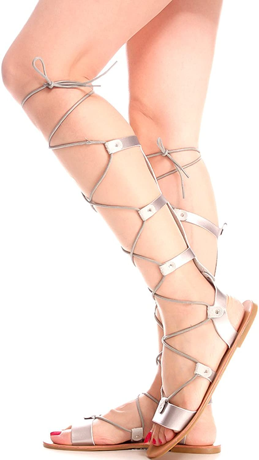 Static Footwear Mark and Maddux Turtle Open Toe Elastic Strap Design Lace Casual Knee High Gladiator
