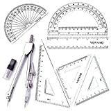 7 Piece Geometry School Set,with Quality Compass, Linear Ruler, Set Squares, Protractor (S...