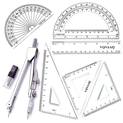 7 Piece Geometry School Set,with Quality Compass, Linear Ruler, Set Squares, Protractor (Silver)