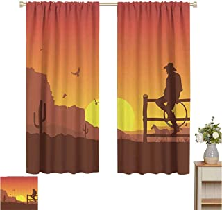 June Gissing Western Decor Kitchen Curtain Silhouette of Cowboy in Wild West Sunset Landscape American Culture Image Artsy Print Printed Heat Insulation Curtain W63 x L72 Burnt Orange