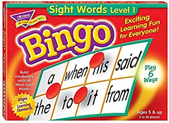 Sight Words Bingo - Language Building Skill Game for Home or Classroom  T6064  Build Vocabulary with 46 Most-Used Words 3 - 36 players Age 5 and up Cover the Spaces Needed to Win & Call Bingo