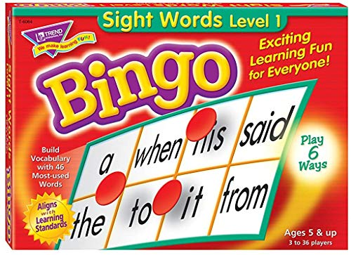 Sight Words Bingo - Language Building Skill Game for Home or Classroom (T6064), Build Vocabulary with 46 Most-Used Words, 3 - 36 players, Age 5 and up, Cover the Spaces Needed to Win & Call Bingo