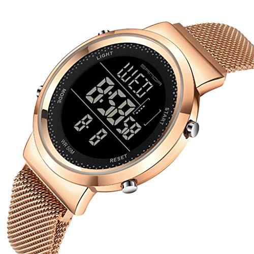 GLEMFOX Art- en witsequarts-stopwatch-chronograaf waarschuwing lichtgevende functie eenvoudige in elkaar grijpen riem horloge casual paar horloge Large roze goud