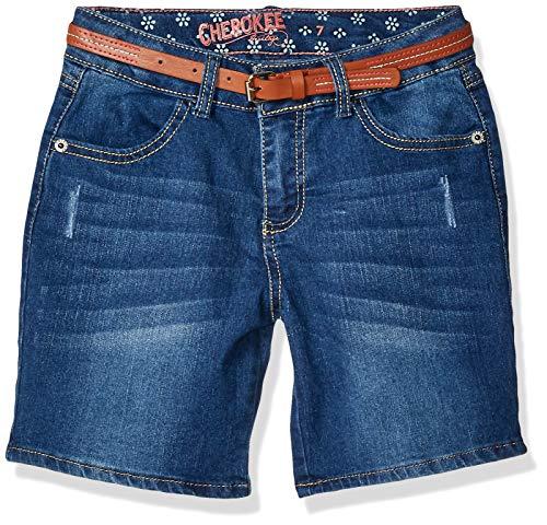 Cherokee Girls' Big Basic Core Cuffed Denim Shorts, Dark Wash, 5