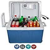 K-Box Electric Cooler with Wheels and Warmer for Car and Home - 48 Quart (45 Liter) - 6 FT. Extra Long Cables Dual 110V AC House and 12V DC Vehicle Plugs (Blue) 141[並行輸入]