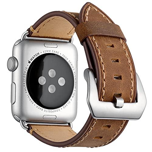 Correa Reloj para Apple Watch Series 1/2/3/4/5/6/SE, Compatible con iWatch Band 38mm 40mm 42mm 44mm con Hebilla de Acero Inoxidable, Hombre Cuero Genuino Correa de Reloj,Brown,38mm/40mm