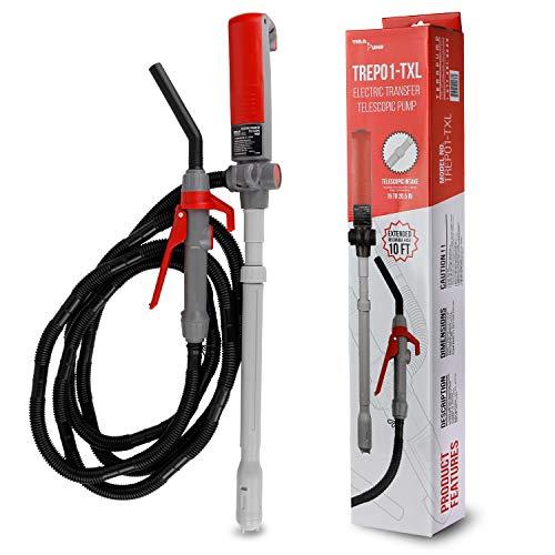 TERA PUMP TREP01-TXL Multi-Purpose Battery Powered Fuel Liquid Transfer Pump - 10ft EXTRA LONG hose, Easy Flow Control, 9 liters per min