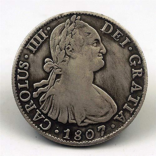 nouler Moneda Conmemorativa de la Moneda Antigua del Dólar de Plata de España 1807 Moneda Conmemorativa de la Moneda Conmemorativa de Carlos IV,Moneda conmemor,Un tamaño