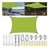 MIKUAP Toldo Vela de Sombra,Parasol Protección UV Transpirable Oxford Toldo Rectangular Resistente Al Polvo Y Al Viento para Patio Jardín con Kit de Fijación Amarillo Verde 4X5M