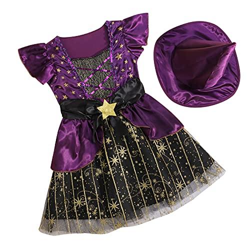 Disfraz de Halloween para niña pequeña, diseño de estrellas de Halloween, vestido de manga de mosca y sombrero de color sólido (morado, 4-6 años)