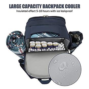 Kacsoo Refroidisseur de Sac à Dos de Pique-Nique Portable pour 4 Personnes, avec Compartiment Isotherme pour Vaisselle, Couverture de Pique-Nique et Sac de Camping en Plein air 21 pièces