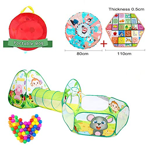 HZW 3 in 1 Animal Kids Play Tent, Pop Up Play Tents with Tunnels and Crawling Mat for Babies and Toddlers Indoor and Outdoor Playhouse Great Birthday Gift for Girls Boys