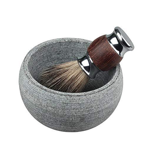 Allowevt Tazón de Crema de jabón de Afeitar para Hombres Accesorios de Afeitado de Piedra de Granito Natural Tazón de Barba con Mejor Calidez, Espuma más fácil