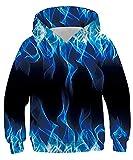 Belovecol Boys Girls Fleece Hoodie 3D Digital Printed Fire Flame Pattern Fashion Pullovers Casual Lightweight Hooded Sweatshirt 12-14 Years