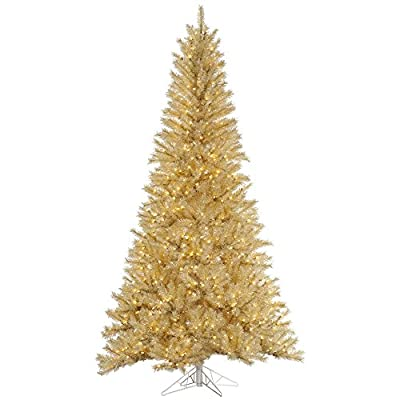 Vickerman White/Gold Tinsel Christmas Tree