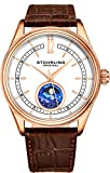 Stuhrling Original Mens MoonPhase Dress Watch - Stainless Steel Case and Brown Leather Band - White Analog Dial with Day of The Week and Date - Celestia Mens Watches Collection