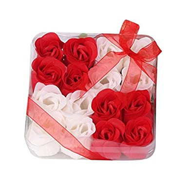 Iuhan 16Pcs Heart Scented Bath Body Petal Rose Flower Soap Wedding Decoration Gift Best (Red)