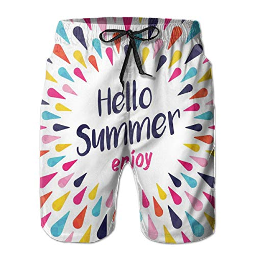 Men's Swim Trunks Board Shorts Beach Pants Surfing Boardshorts,Hello Summer Enjoy Wording Printed In The Center Of Vivid Colored Bursting Raindrops,Fancy Print Hawaiian Shorts four size,XX-Large
