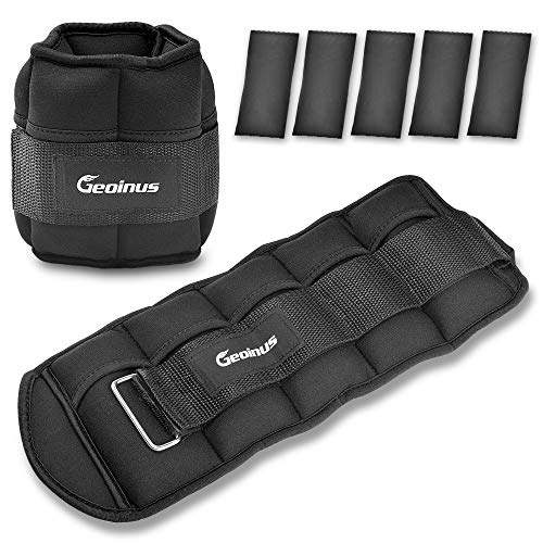 Geonius Adjustable Ankle Weights 10lbs,Ankle & Wrist Weights Set with Removable Weight,Adjustable Strap for Exercise, Walking, Running, Jogging, Fitness, Workout, Men Women Kids, 2 Pack