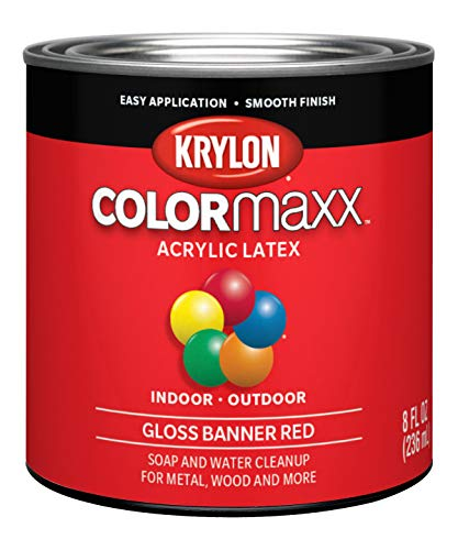 Krylon K05633007 COLORmaxx Acrylic Latex Brush On Paint for Indoor/Outdoor Use, 1/2 Pint, Banner Red