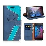 MOBESV Smiley Motorola Moto G5S Hülle Leder, Motorola Moto G5S Tasche Lederhülle/Wallet Hülle/Ledertasche Handyhülle/Schutzhülle für Motorola Moto G5S, Dunkel Blau/Aqua