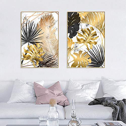 VVSUN Pintura de Lienzo nórdica Imagen de Planta Dorada Arte de la Pared Hojas Tropicales Modernas Carteles e Impresiones para la Sala de Estar Decoración del hogar 50X75cm 20x30inchx2 Sin Marco